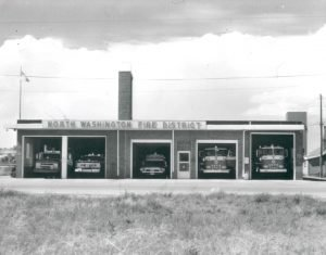 Black and white photo of the North Washington Fire District building