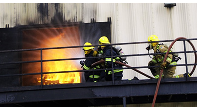 Firefighters train at an ACFR training facility
